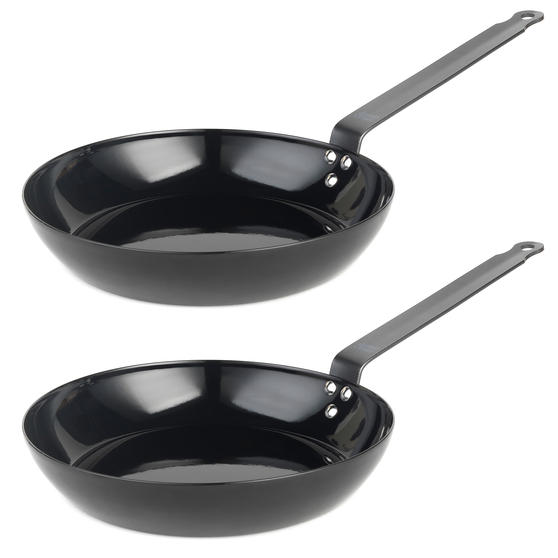 Jamie Oliver COMBO-4588 Get Inspired Heat Resistant Carbon Steel BBQ Frying Pan, 24 cm, Black, Set of 2