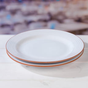 Jamie Oliver COMBO-4556 Get Inspired Set of 4 Terracotta Dinner Plates, 28 cm, White, Dishwasher Safe Thumbnail 2