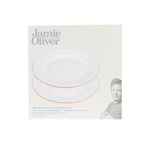 Jamie Oliver COMBO-4556 Get Inspired Set of 4 Terracotta Dinner Plates, 28 cm, White, Dishwasher Safe Thumbnail 8