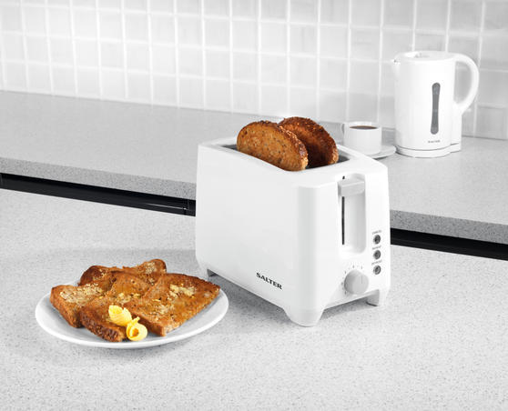 Salter EK3393 Two-Slice Toaster With Slide-Out Crumb Tray, 750 W, White/Grey