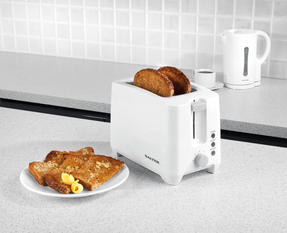 Salter EK3393 Two-Slice Toaster With Slide-Out Crumb Tray, 750 W, White/Grey Thumbnail 1