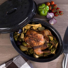 Russell Hobbs CW11491MOBN Vitreous Enamel Self Basting Roaster with Lid, 36 cm, Black Thumbnail 2