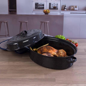 Russell Hobbs CW11491MOBN Vitreous Enamel Self Basting Roaster with Lid, 36 cm, Black Thumbnail 3