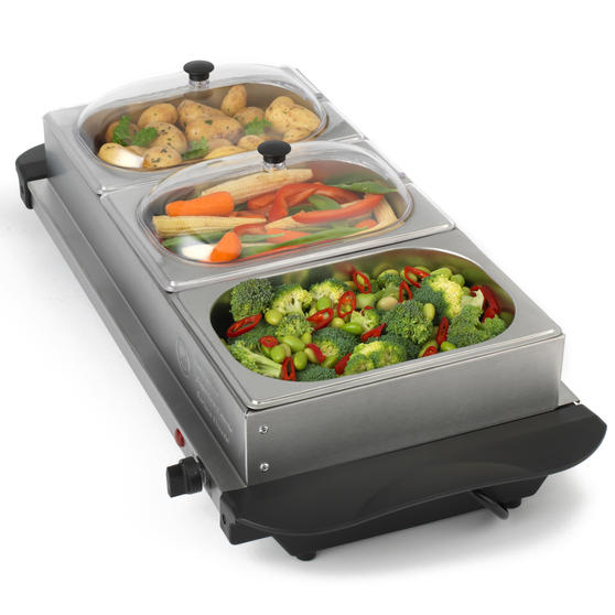 Giles & Posner Three Pan Portable Food Warming Tray Buffet Server, 4.5 L