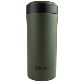 Web-Tex WFLA33 Ammo Pouch Reusable Thermal Insulated Drinks Flask, 300 ml, Stainless Steel, Green