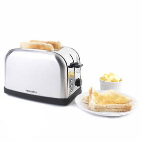 Progress Classica 2-Slice Toaster with Variable Browning, 850 W, Stainless Steel/Black