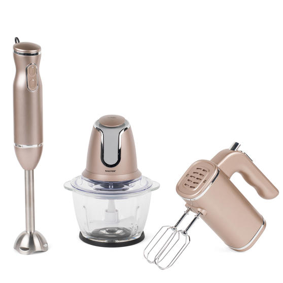 Salter Kitchen Gadget Set Hand Blender, Mixer and Glass Chopper, Champagne