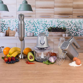 Salter COMBO-3841 Kitchen Gadget Set Hand Blender, Mixer and Glass Chopper, Titanium Thumbnail 2
