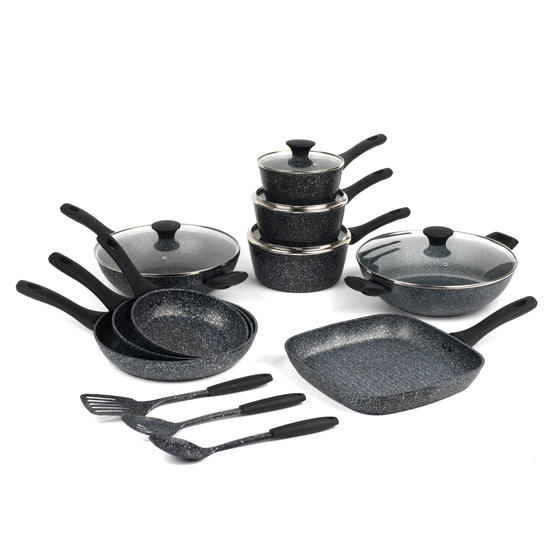 Salter Megastone Complete Non-Stick Cookware Pan Collection with 3 Piece Utensil Set