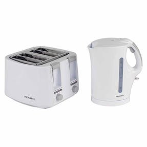 Progress 1.7 Litre Immersed Kettle with Four Slice Toaster, White/Grey