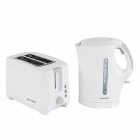 Progress 1.7 Litre Immersed Kettle with Two Slice Toaster, White/Grey