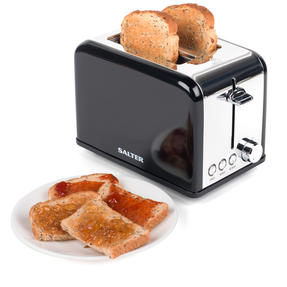 Salter Riga 2-Slice Toaster with Variable Browning, 815 W, Black/Stainless Steel Thumbnail 1