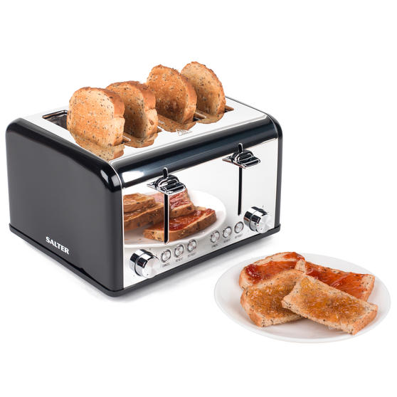 Salter EK3408BLACK 4-Slice Riga Toaster with Variable Browning Control, 1630 W, Black/Stainless Steel