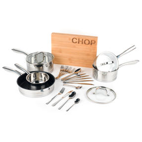 Salter COMBO-4641 Timeless 5-Piece Pan Set with 24-Piece Bakewell Cutlery and CHOP Bamboo Chopping Board