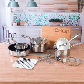 Salter COMBO-4641 Timeless 5-Piece Pan Set with 24-Piece Bakewell Cutlery and CHOP Bamboo Chopping Board Thumbnail 2