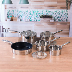 Salter COMBO-4641 Timeless 5-Piece Pan Set with 24-Piece Bakewell Cutlery and CHOP Bamboo Chopping Board Thumbnail 3