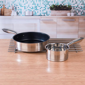 Salter COMBO-4641 Timeless 5-Piece Pan Set with 24-Piece Bakewell Cutlery and CHOP Bamboo Chopping Board Thumbnail 7