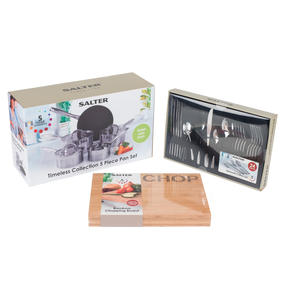 Salter COMBO-4641 Timeless 5-Piece Pan Set with 24-Piece Bakewell Cutlery and CHOP Bamboo Chopping Board Thumbnail 9