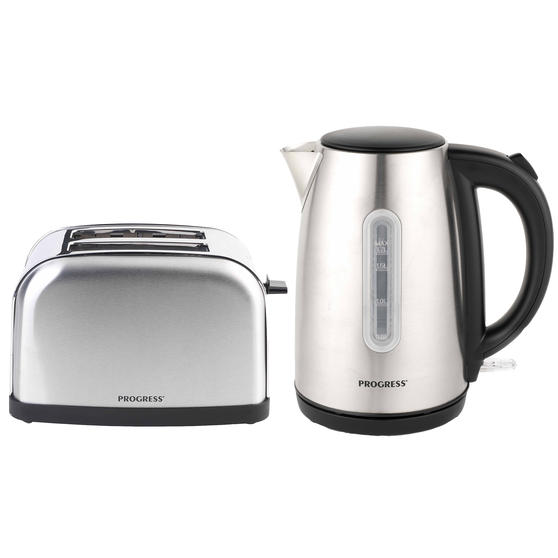 Progress COMBO-4625 Classica Jug Kettle and Two Slice Toaster with Variable Browning, Stainless Steel/Black