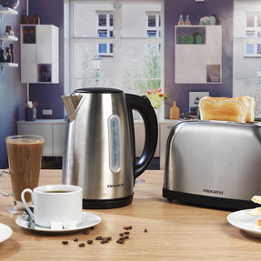 Progress COMBO-4625 Classica Jug Kettle and Two Slice Toaster with Variable Browning, Stainless Steel/Black Thumbnail 2