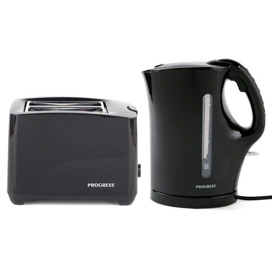 Progress COMBO-4628 1.7 Litre Kettle with Soft Grip Handle and Two-Slice Toaster with Slide-Out Crumb Tray, Black