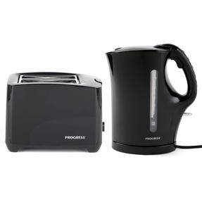 Progress COMBO-4628 1.7 Litre Kettle with Soft Grip Handle and Two-Slice Toaster with Slide-Out Crumb Tray, Black Thumbnail 1
