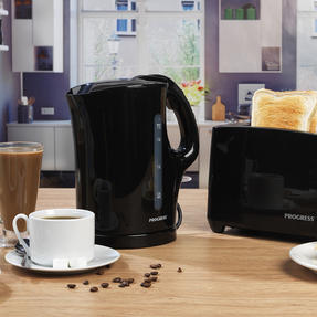 Progress COMBO-4628 1.7 Litre Kettle with Soft Grip Handle and Two-Slice Toaster with Slide-Out Crumb Tray, Black Thumbnail 2
