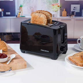 Progress COMBO-4628 1.7 Litre Kettle with Soft Grip Handle and Two-Slice Toaster with Slide-Out Crumb Tray, Black Thumbnail 3