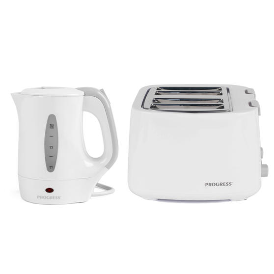 Progress COMBO-4629 Four-Slice Toaster and 0.5 L Travel Kettle, White