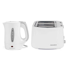 Progress COMBO-4629 Four-Slice Toaster and 0.5 L Travel Kettle, White Thumbnail 1
