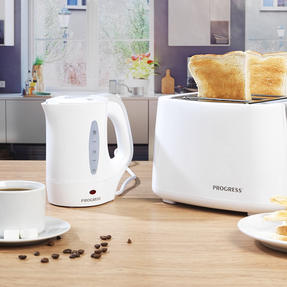 Progress COMBO-4629 Four-Slice Toaster and 0.5 L Travel Kettle, White Thumbnail 2