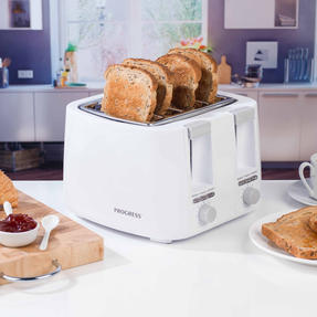 Progress COMBO-4629 Four-Slice Toaster and 0.5 L Travel Kettle, White Thumbnail 3