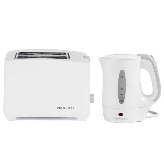 Progress COMBO-4311 Two-Slice Toaster with Slide-Out Crumb Tray and 0.5 L Travel Kettle, White