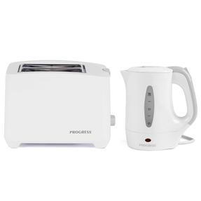 Progress COMBO-4311 Two-Slice Toaster with Slide-Out Crumb Tray and 0.5 L Travel Kettle, White Thumbnail 1
