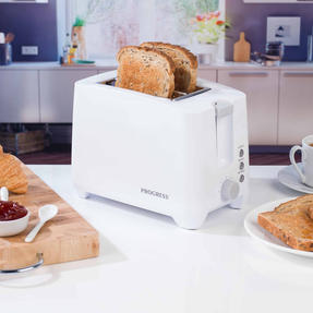 Progress COMBO-4311 Two-Slice Toaster with Slide-Out Crumb Tray and 0.5 L Travel Kettle, White Thumbnail 3