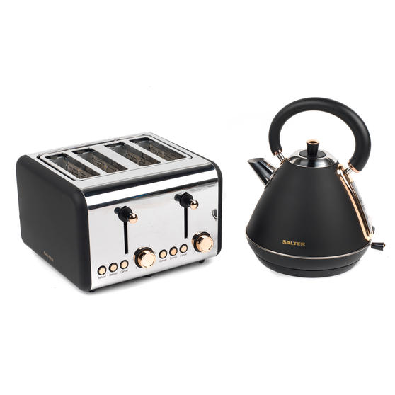 Salter COMBO-3953 Pyramid Kettle and Four- Slice Toaster Set, Rose Gold Edition