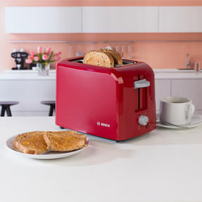 Bosch TAT3A014GB Village Two-Slice Toaster, Red Thumbnail 8