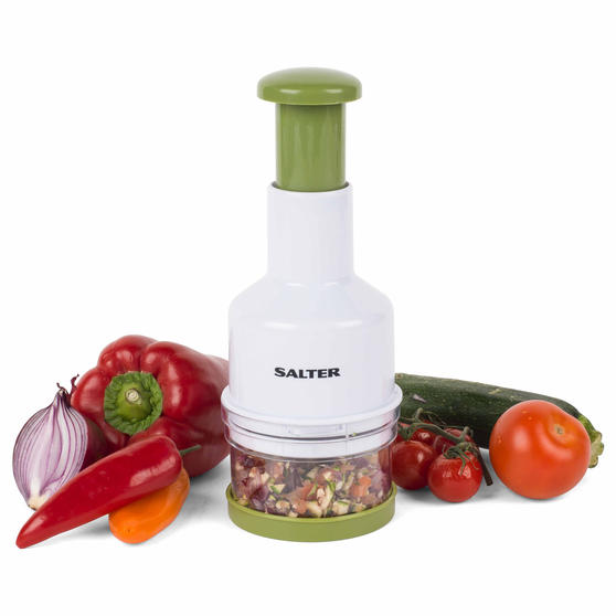 Salter BW03823GRN Fruit and Vegetable Press Chopper with Stainless Steel Blade