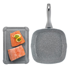 Salter Marble Collection Non-Stick 28 cm Griddle Pan with Defrosting Tray, Grey Thumbnail 1