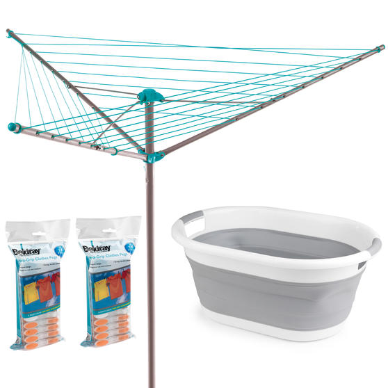 Beldray Outdoor Rotary Clothes Airer with 48 Pegs and Collapsible Laundry Basket, 26 Metre Drying Space