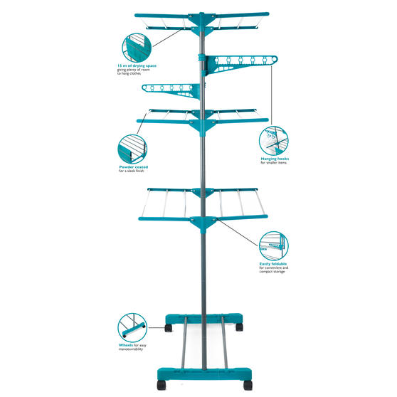 Beldray 3 Tier Super Deluxe Clothes Airer with 100 Pegs and Collapsible Laundry Basket Main Image 3