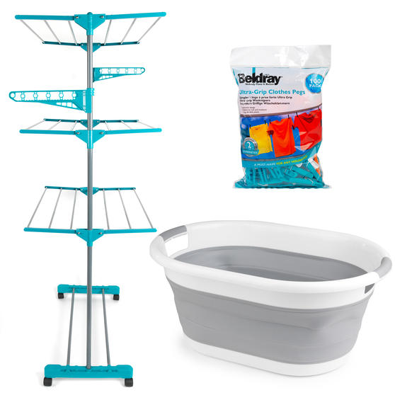 Beldray 3 Tier Super Deluxe Clothes Airer with 100 Pegs and Collapsible Laundry Basket Thumbnail 1