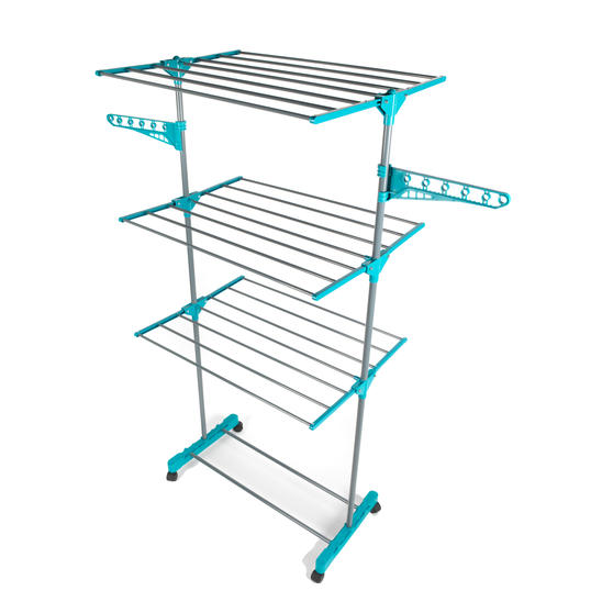 Beldray 3 Tier Super Deluxe Clothes Airer with 100 Pegs and Collapsible Laundry Basket Thumbnail 2