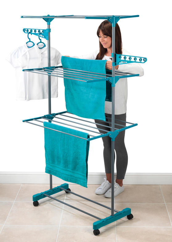 Beldray 3 Tier Super Deluxe Clothes Airer with 100 Pegs and Collapsible Laundry Basket Thumbnail 4