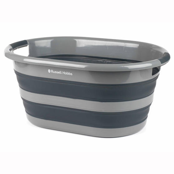 Russell Hobbs LA053879GRYEU Collapsible Plastic Oval Laundry Basket, 27 L, Black/Grey
