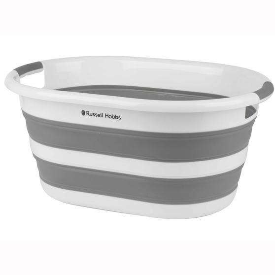 Russell Hobbs LA053879WHTEU Collapsible Plastic Oval Laundry Basket, 27 L, White/Grey