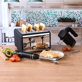 Salter COMBO-4143 4-Slice 1500 W Toaster, Hand Blender and Hand Mixer, Rose Gold Edition Thumbnail 2