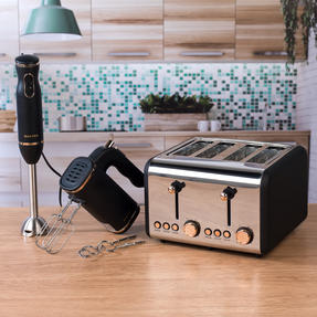 Salter COMBO-4143 4-Slice 1500 W Toaster, Hand Blender and Hand Mixer, Rose Gold Edition Thumbnail 3