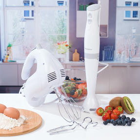 Progress COMBO-3656 Hand Blender and Five-Speed Hand Mixer Set, 350/200 W, White/Grey Thumbnail 2