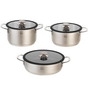 Peugeot COMBO-4732 Stainless Steel 20/24 cm Cooking Pots and 26 cm Sauté Pan Set, 3 Piece